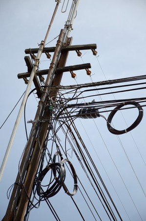 messy: Messy cable electricity post