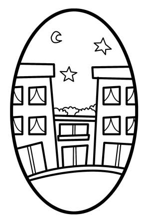 elipse: de dibujos animados edificio de arte en la ilustración elipse Foto de archivo