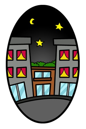 elipse: art building cartoon in ellipse illustration