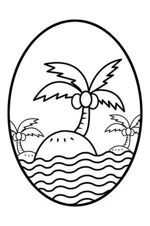elipse: de dibujos animados isla arte en la ilustración elipse