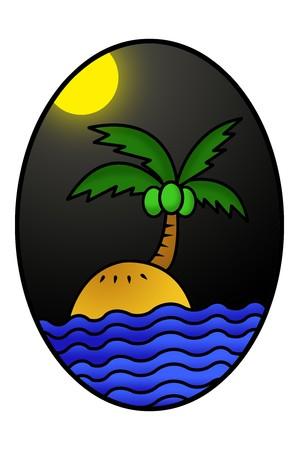 ellipse: art island cartoon in ellipse illustration background Stock Photo