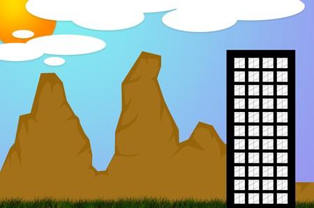 예술 건물과 산 그림 배경