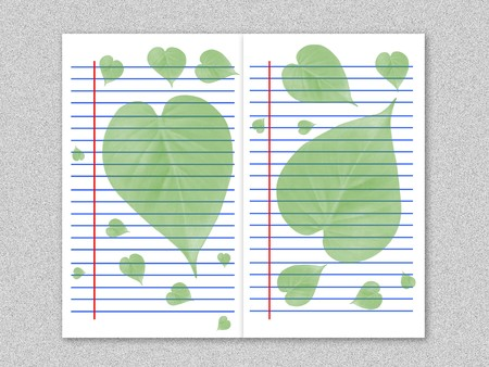 green leaves on white paper illustration background