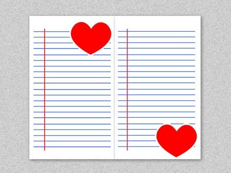 streaked: red heart on white paper illustration background Stock Photo