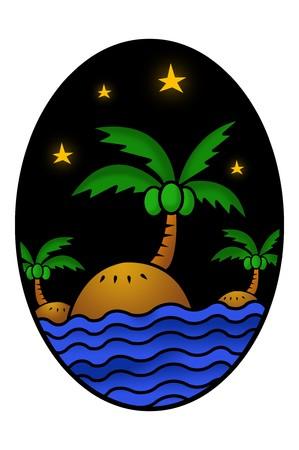 elipse: art island cartoon in ellipse illustration background Foto de archivo