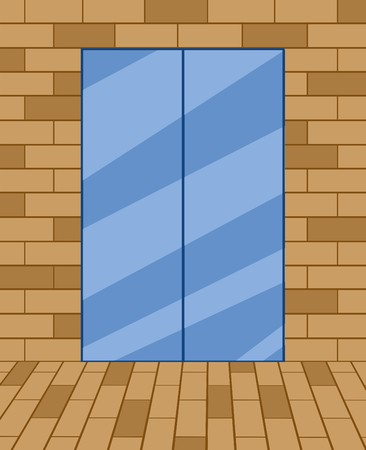 blue door on brown brick wall background