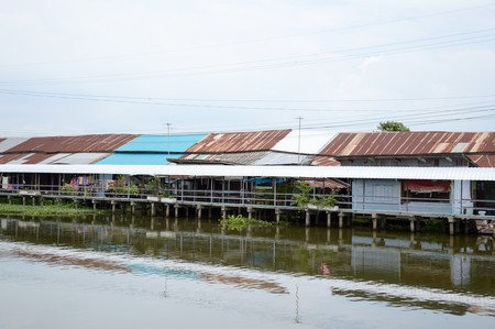 chachoengsao: waterfront Village in Chachoengsao Thailand Stock Photo