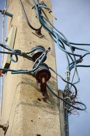 wire on electricity post Фото со стока
