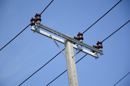 close up electric pylon in country Thailand