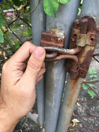 close up hand and latch
