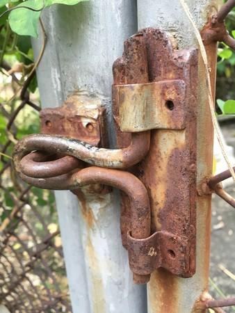 rusty: rusty latch Stock Photo