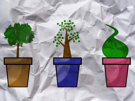 Plantas verdes en textura de papel arrugado Foto de archivo - 80076175