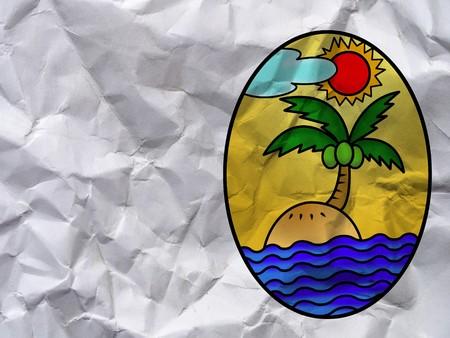 art island cartoon on wrinkled paper texture Stock Photo