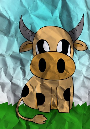 cute cow cartoon on crumpled paper texture