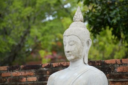 white buddha statue in Ayutthaya temple at Thailand