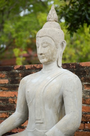 old buddha statue in public temple at Ayutthaya, Thailand