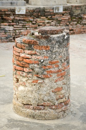 old broken brick post in history temple at Ayutthaya Thailand