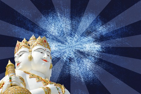 big white statue of brahma on blue background