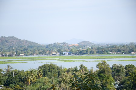 Mountain and river in kanchanaburi Thailand