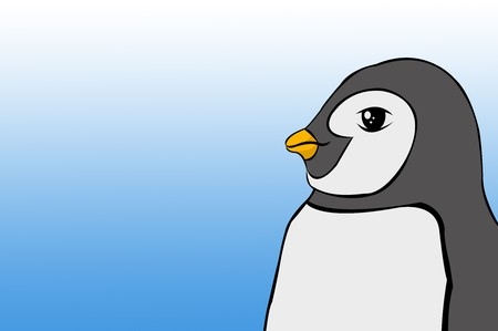 Cute penguin cartoon on blue background Imagens - 78154504