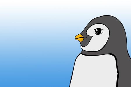 Cute penguin cartoon on blue background