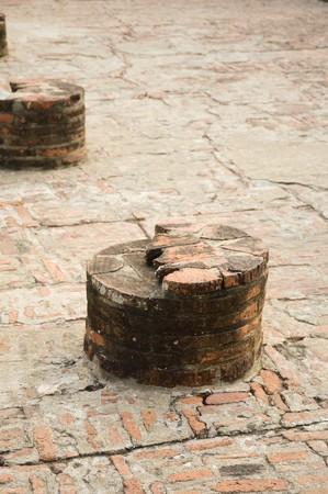 broken brick post in history temple at Ayutthaya Thailand