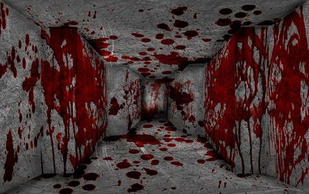 red blood on dark concrete room background