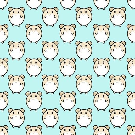 art cute rat cartoon seamless pattern illustration backgroun Stock Photo