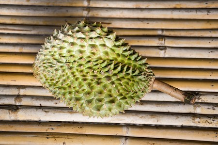 Durian fruit on wood table Stock Photo