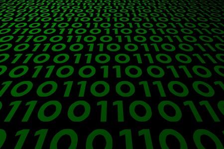 abstract binary code on green digital screen