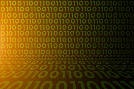 abstract binary code on green digital screen background