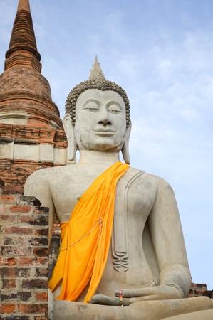 old buddha statue in Ayutthaya temple at Thailand 版權商用圖片
