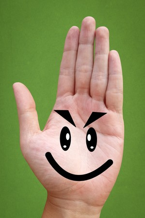 cute hand man on green background