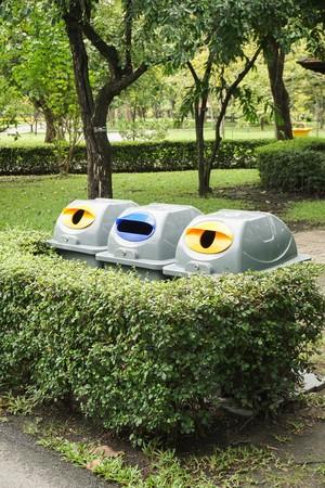 plastic bin in nature garden Stock Photo