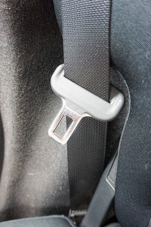 close up safety belt in new car