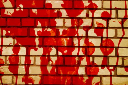 art red blood on cement wall illustration background