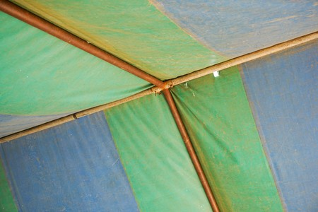 close up old tent fabric