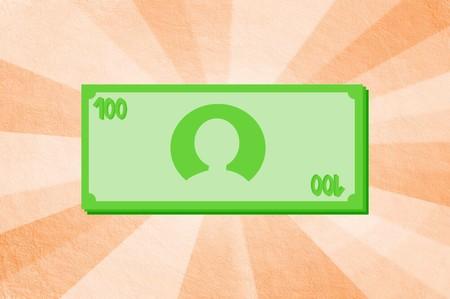 geld op bruine stralenachtergrond Stockfoto
