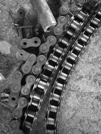 old rust chain on the floor