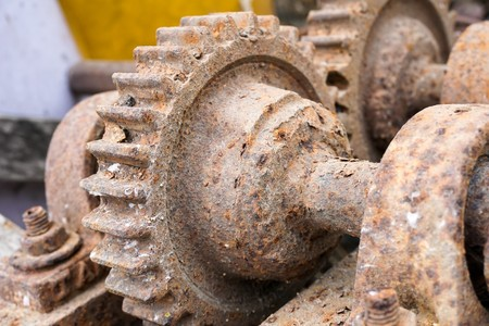 close up old rusty gear
