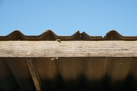 Close up old tile roof Stock Photo
