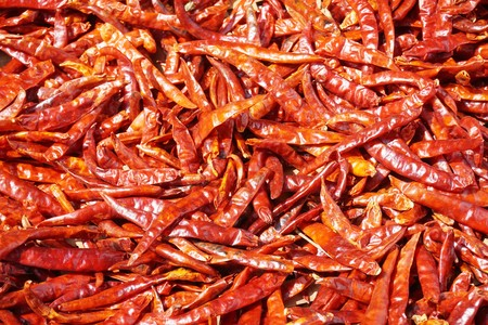 dry red chili texture in market