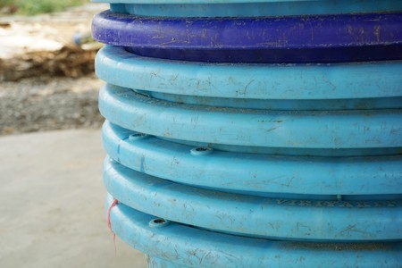 close up blue plastic basket in country farm Stock Photo
