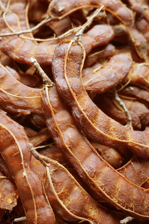 close up dry tamarind in market Stock Photo