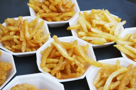 french fries on street food Stock Photo