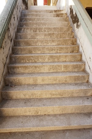 close up old cement stair in nature garden Stock Photo