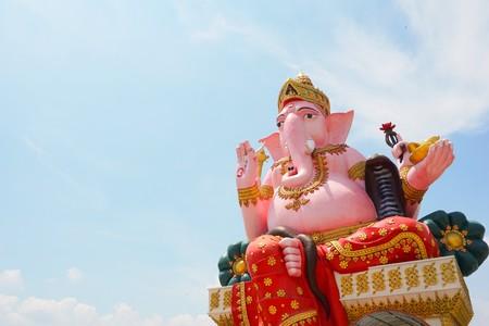 Close up big pink ganesh statue in wat Prongarkat at Chachoengsao Thailand