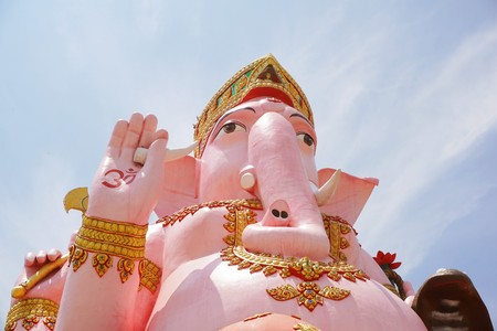 Close up big pink ganesh statue in wat Prongarkat at Chachoengsao Thailand
