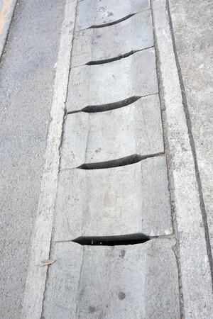 cement drain on the floor