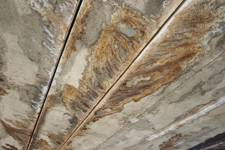 Cement Ceiling have traces water drip Stock Photo